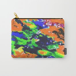 psychedelic splash painting abstract texture in brown green blue yellow pink Carry-All Pouch