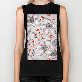 Red And Grey Floral Pattern Biker Tank