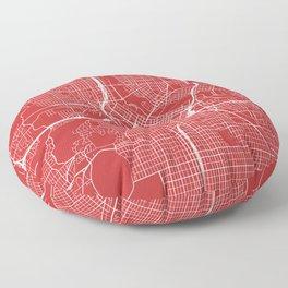 Minneapolis Map, USA - Red Floor Pillow