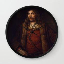 Rembrandt - Man in a Fur-lined Coat (1658) Wall Clock