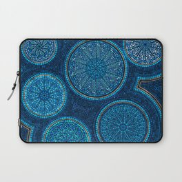Dot Art Circles Abstract Blue with gold accent Laptop Sleeve