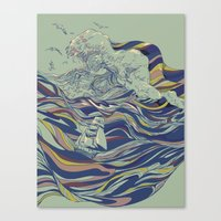 huebucket Canvas Prints featuring OCEAN AND LOVE by Huebucket
