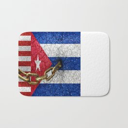 United States and Cuba Flags United Bath Mat