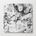 Black gray modern watercolor roses floral pattern by pink_water