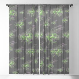 Housefly GHOST GREEN Sheer Curtain