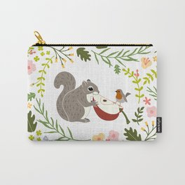Friendship in Wildlife_Squirrel and Robin_Bg White Carry-All Pouch