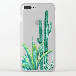 cactus jungle watercolor painting 2 Clear iPhone Case