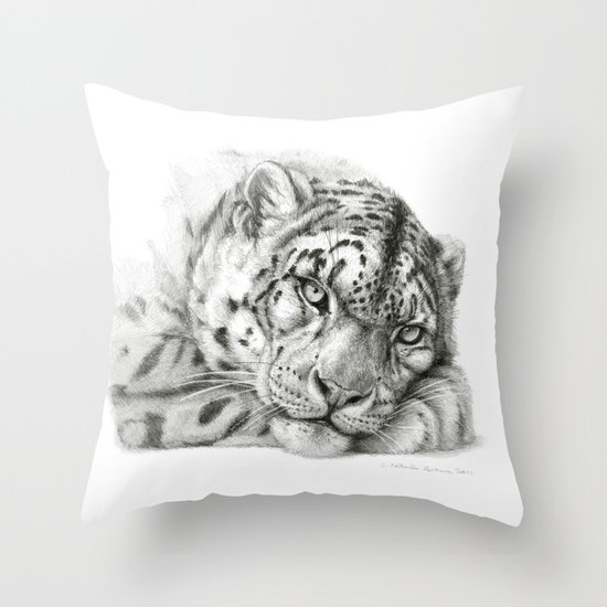 Pensive Snow Leopard G2011-011 Throw Pillow