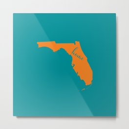 Florida is Home - Go Dolphins Metal Print