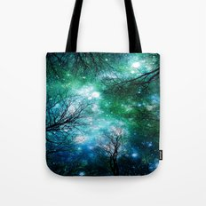 Black Trees Teal Green Space Tote Bag