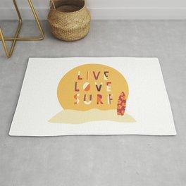 Live Love Surf Surfer girl slogan Rug