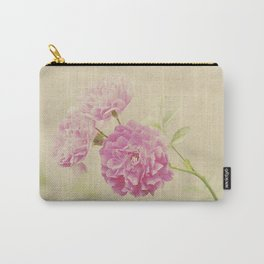 Vintage Pink Ruffled Roses Carry-All Pouch