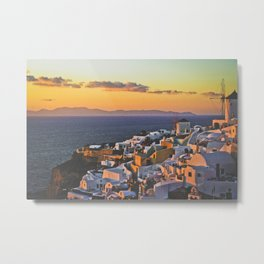 Santorini Sunset (Santorini, Greece) Metal Print