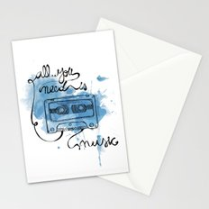 Music's all you need Stationery Cards