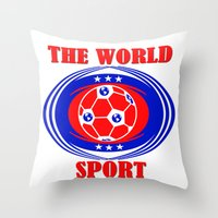 soccer Throw Pillows featuring SOCCER  by Robleedesigns
