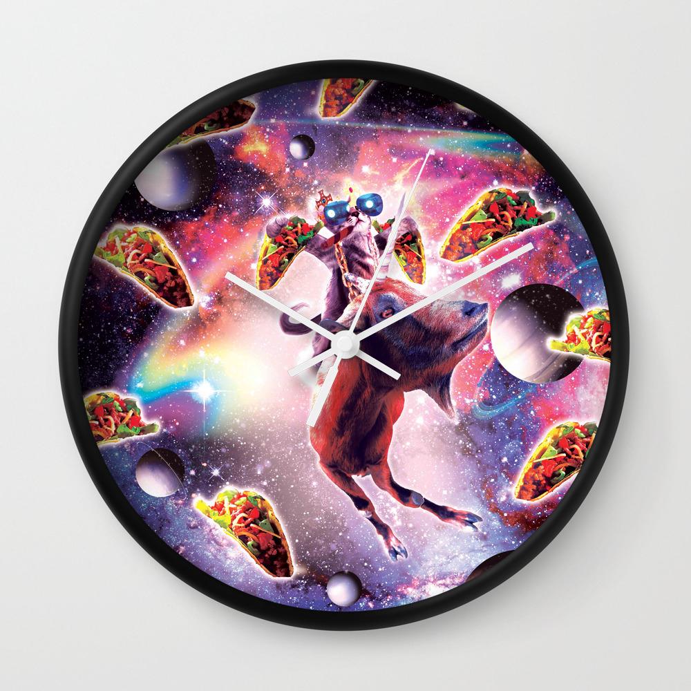 Thug Space Cat On Goat Unicorn - Taco Wall Clock