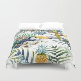 Tropical Pineapples, Parrots, Toucans Duvet Cover