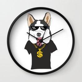 Siberian Husky Thug Life Mode Wall Clock