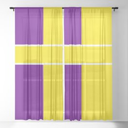 Team Colors 6....Yellow,purple Sheer Curtain