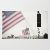 washington dc Area & Throw Rugs featuring 2013 Inauguration: Washington, DC. by vagabond visuals
