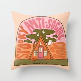 Spooky Anti-Social Club Throw Pillow