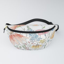 wild flower bouquet and blue bird- ink and watercolor 2 Fanny Pack
