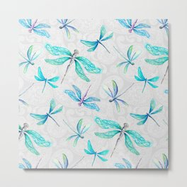 Dragonflies on Paisley Metal Print
