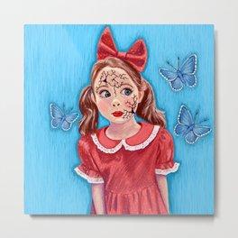 Broken Doll with Blue Butterflies Metal Print