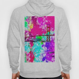 Golden Gate bridge, San Francisco, USA with pink blue green purple painting abstract background Hoody