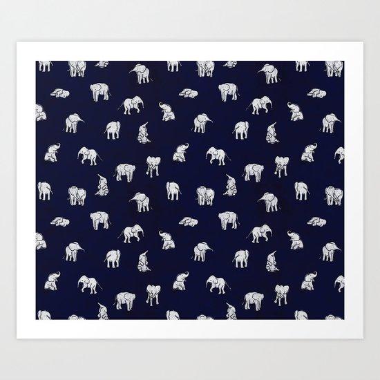 Indian Baby Elephants in Navy Art Print