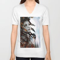 human V-neck T-shirts featuring Human by Ignacio de la Calle