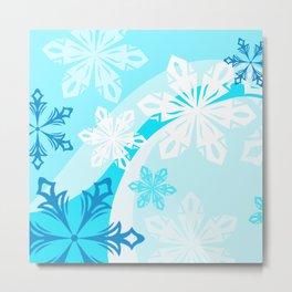 Blue Flower Art Winter Holiday Metal Print