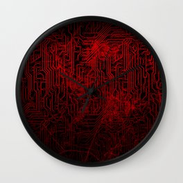 Red Cybernetic Circuit Board Crackle Grunge Texture Wall Clock