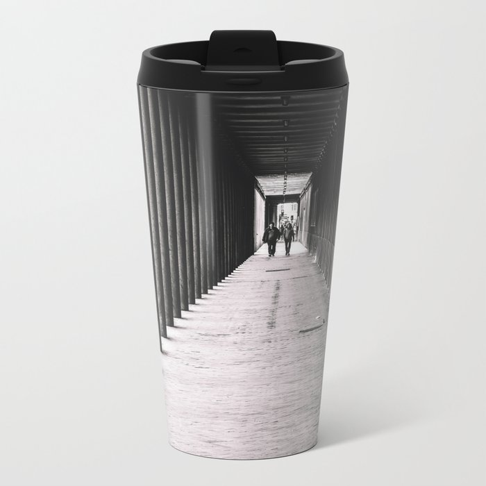 Arcade with columns in Copenhagen, architecture black and white photography Metal Travel Mug