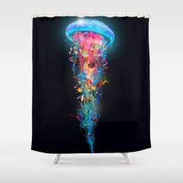 Super Electric Jellyfish Extend Square Shower Curtain