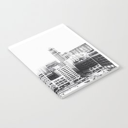 Woodward Avenue Downtown Detroit Black and White Print Notebook