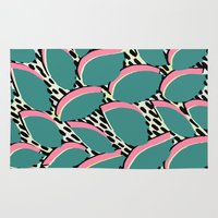 80s Area & Throw Rugs featuring 80s leaf pattern by Sarah Bagshaw