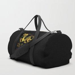 Gold Copper Dragon Kung Fu San Soo on Black Duffle Bag