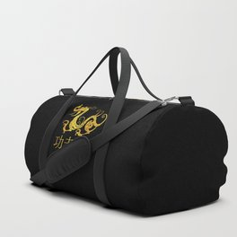Gold Copper Dragon Kung Fu San Soo on Black Duffle Bag