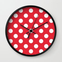 Rose madder - red - White Polka Dots - Pois Pattern Wall Clock