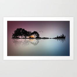 Shape of Guitar Trees Reflection on Water Art Print