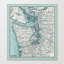 Puget Sound Map Canvas Print