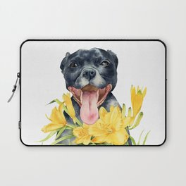 Joy | Pit Bull Dog and Daylily Watercolor Painting Laptop Sleeve