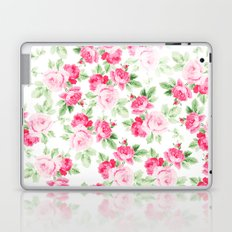 Romantic modern pink white trendy roses floral  Laptop & iPad Skin