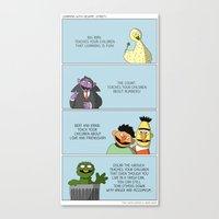 sesame street Canvas Prints featuring Learning With Sesame Street! by tgacomics