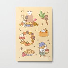 Bubu the Guinea pig, Fall and Pie Metal Print