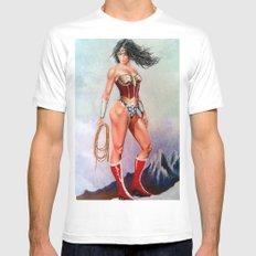 wonder w White SMALL Mens Fitted Tee