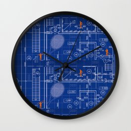Blue Blueprint with Construction Workers & Tennis Racquet Wall Clock