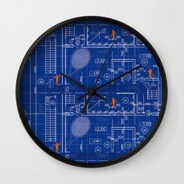 Blue Blueprint with Construction Workers & Tennis Racquet Wall Clock