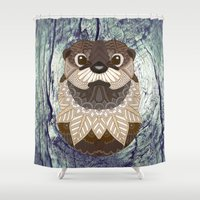 otters Shower Curtains featuring Ornate Otter by ArtLovePassion